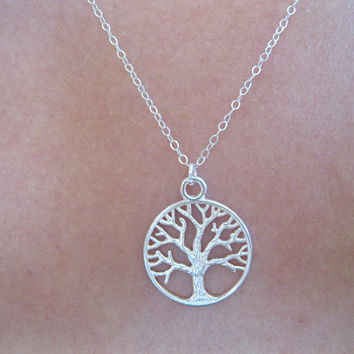 Silver tree of life necklace, yoga necklace, strength necklace, tree branch necklace, sterling silver leaf necklace, dainty modern delicate