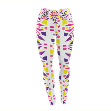 "Miranda Mol ""Summer Mood"" Yellow Purple Yoga Leggings"