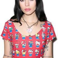 Japan L.A. Hello Kitty 40th Crop Tee Red