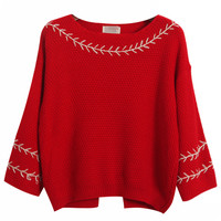 Long Sleeve Boat Neck Knitted Sweater With Back Slit