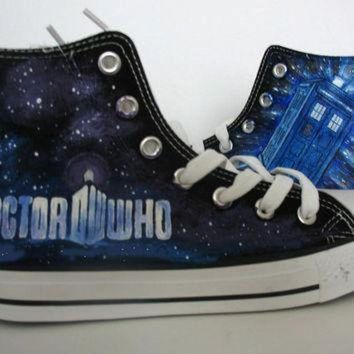 ICIKGQ8 doctor who blue custom converse hand painted shoes canvas shoes