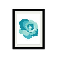 "Blue Rose Poster. Simple, Modern, Minimalist. Custom Colors. Home Decor. Beautiful Flower. Flower Print. 8.5x11"" Print"