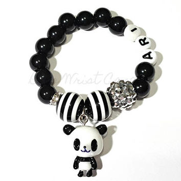 Personalized Panda Bear Beaded Bracelet, Black White Girls Name Stretchy Gifts Custom Handmade Beaded Jewelry