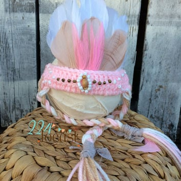 Indian, Indian Headdress, Baby Indian, Baby Indian Headdress, Indian Crochet Headdress, Indian Headband, Baby Girl, Baby Indian Headband,