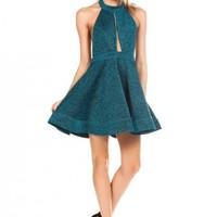 Dress - Mermaid Splendor Glittery Halter Dress in Sea Green