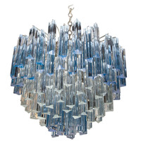 Rare Murano Chandelier with Clear and Gradient Blue Crystal Prisms by Venini for Camer