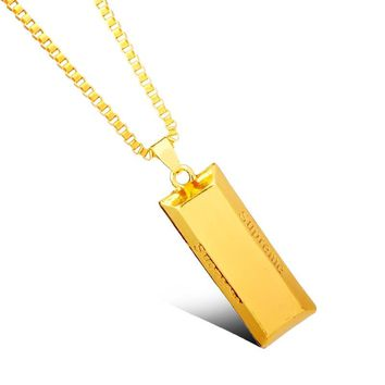 Gold Cube Bar Men Chain Necklace