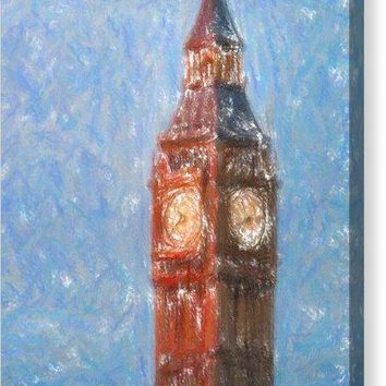 Pastel Painting Of Big Ben Tower In London - Canvas Print