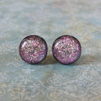 Pink Earrings, Post Fused Glass Earings, Jewelry on Etsy - Sweetie - 1936 -3
