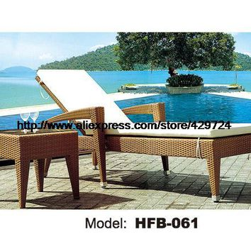 Fashion Rattan Lying Chair Sun Lounger Table Set Leisure Outdoor Lying Sofa Bed Swing Pool Furniture Rattan Chair HFB061