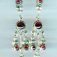 Garnet Chandelier Earrings Sterling Silver January Birthstone OOAK