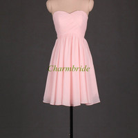 pearl pink bridesmaid dresses / affordable bridesmaid gowns / sweetheart prom gowns / simple dress for wedding party