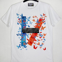Logo Twenty One Pilots Multi Coloured Butterfly Tyler Joseph Josh Dun Vessel Unisex Cotton White CL T-Shirt S-XXL