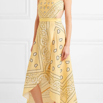 Miguelina - Ines cutout printed linen midi dress