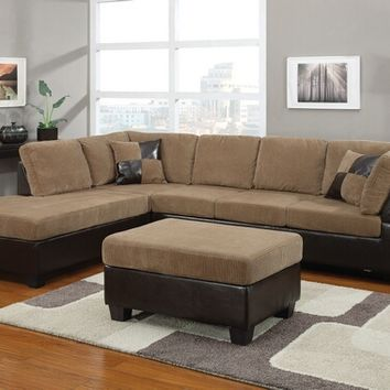 Acme 55945 2 pc connell collection two tone light brown corduroy and espresso leather like vinyl sectional sofa