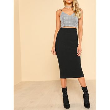 Solid Pencil Skirt Black