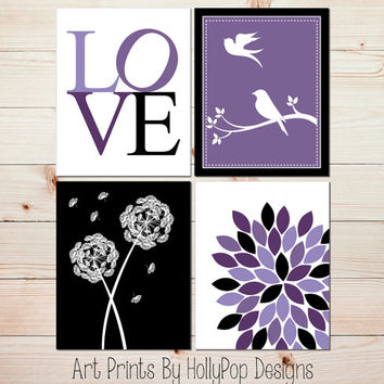 Baby Girl Nursery wall art Girl Nursery Decor Toddler Girls Room Decor Purple Black Art Prints Dandelion Floral Burst Dahlia Art Print #0630