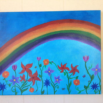 Rainbow Garden, 16x20, FREE shipping, abstract, acrylic, floral, original, happy art, original art, fine art, energy art
