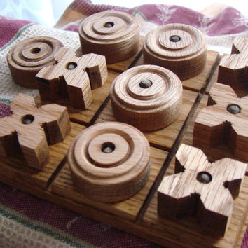 Oak Tic Tac Toe Board with Pieces  Old Fashioned by CarriesBerries
