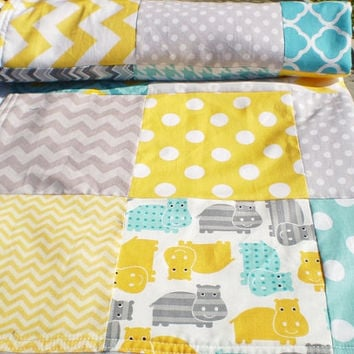 Modern Baby quilt,Teal,grey,yellow,hippos,Patchwork Crib quilt,baby boy bedding,baby girl quilt,woodland,rustic,chevron,toddler,baby blanket
