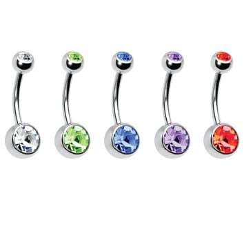 BodyJ4You 10PC Belly Button Ring Double Multicolor CZ Stainless Steel 14G Navel Piercing Jewelry