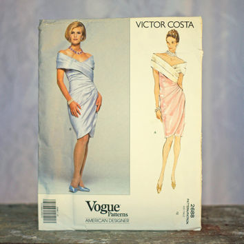 Vintage Evening Dress Sewing Pattern Vogue Victor Costa American Designer 2688, Size 12 Small Medium Cross Bodice Boned Off Shoulder Wedding