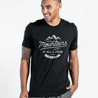 The Mountains Are Calling Mens Black Premium Fitted Tee