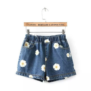Korean Women's Fashion Print Denim Pants Summer Shorts [6034225153]