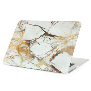 "Gold Marble Case Best Protection Tech Rubberized Hard Shell Matte Nanometer Cover for MacBook Air 11.6""  , Air 13.3 , Pro 13.3"" , Pro 15.4"" , Retina 15.4"" , Retina 13.3"" , Retina 12"""