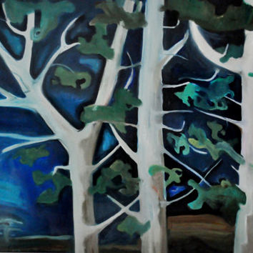 Woods at night Blue Forest b054 colorful forest oil on canvas painting abstract modern contemporary art blue night summer forest oil canvas