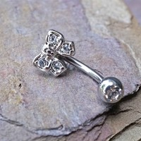 Cute Daith Piercing Rook Earring Crystal Bow