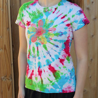 Tie Dye Reebok Tee shirt - Women's Workout Clothing - Athletic - Size Small - Gym Tee - Flower