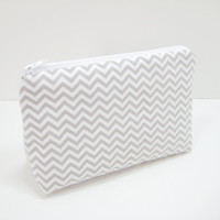 Chevron Cosmetic Pouch, Accessory Pouch, Zippered Cosmetic Pouch, Pencil Case, Taupe and White Mini Chevron