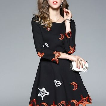 Moon and Star Embroidered Dress