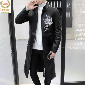Black and white 2 color leather men's medium length PU leather tie cap jacket 2018 new style personalized windbreaker jacket