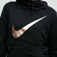 """Nike"" Women Fashion Metallic Print Logo Hooded Top Sweater Pullover Sweatshirt"