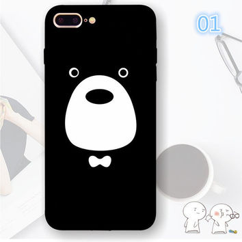 Tongue Emoji Cartoon Case For iphone 7 Case Funny Graffiti Duck Bear NICE Phone Cover For iphone7 7 Plus 6 6S 6Plus 5 5S SE Capa-004-05-Girllove100