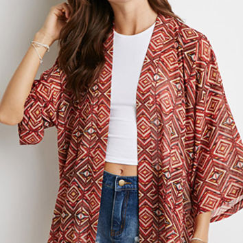 Diamond Print Chiffon Cardigan