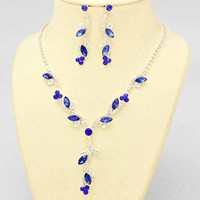 Vibrant Of Elegance Blue Silver Evening Necklace Set