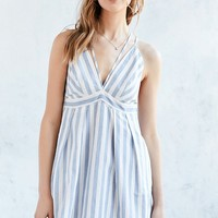 Cooperative Strappy Plunging Striped Fit   Flare Dress
