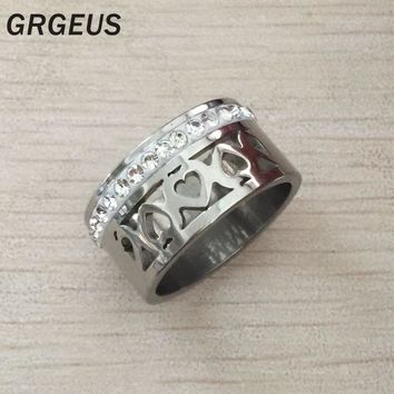 10mm Big Hollow heart Rings silver color 100% Stainless Steel Zircon Female Ring Wedding Engagement Jewelry USA russian Fashion