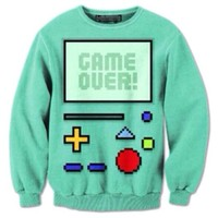 Adventure Time BMO Beemo Game Over All Over Print Crew Neck Pullover Sweater   DOTOLY