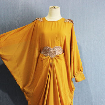 Chiffon Kaftan Maternity Dress Yellow Afantee Caftan Maxi Dress with lining Plus Size Soft  Limited Edition Kaftan Maxi Dresses
