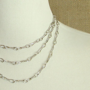 #Vintage #Silver #Monet #Necklace, #Opera #Length #Layering #Chain, #Delicate #Multi #Layer Necklace