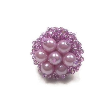 Purple Pearl Ring Flower Nested Ring