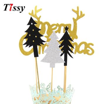2Sets Christmas Cake Toppers Cupcake Toppers DIY Cakes Topper Picks Home Decor Wedding/Birthday/Christmas Party Decoration