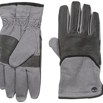 Timberland Men's Wax Canvas and Deerskin Glove, Black, Large