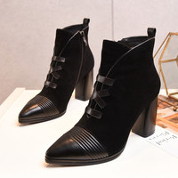 European Style Brown Black Cowhide Uppers Sexy Pointy Toe Stiletto High-heeled Women Pumps Ankle Boots Fashion Booties Shoes