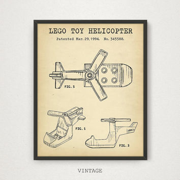 LEGO Toy Helicopter Patent Printable, Lego Poster, Kids Room Wall Art, Helicopter Print, Nursery Decor, Lego Toys Blueprint Digital Download