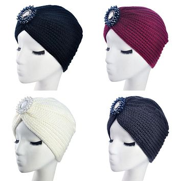 New Fashion Ladies Metal Jewel Accessory Winter Warm gem Turban Soft Knit Headband Beanie Crochet Headwrap Women Hat Cap